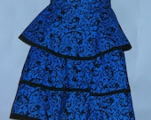 Half Apron With Blue and Black Ruffles