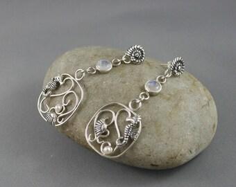 Aphrodite earrings. Rainbow moonstone earrings. Earrings with seahorses.