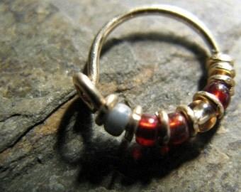 iron man hoop-- superhero nose ring or hoop earring-- handmade by thebeadedlily