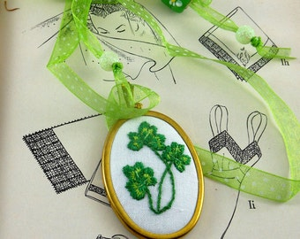 Pendant Hand Embroidered with Green Shamrocks Adjustable Ribblon Spring St Patrick's Day Irish