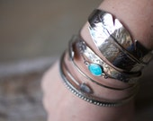 Artisan Feather Cuff, handcrafted hand forged antiqued sterling feather wing bird feather fly boho bohemian gypsy native american southwest