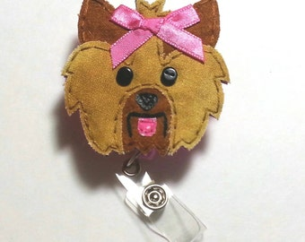 Yorkie Badge Reel,Yorkie Badge Card Holder,Yorkie,Dog,Yorkshire Terrier, ID Holder,Nursing Name Badge Holder, Badge Reel, Retractable