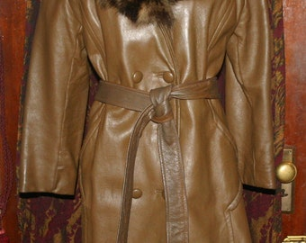 Vintage 1960's Leather Racoon Fur Collar Coat Small