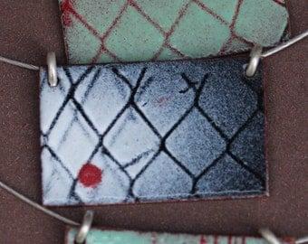 Industrial Pendant - OOAK - Black, white and red - stencil art - Rectangular shape