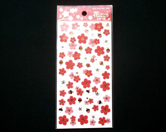 Plum Blossom Stickers - Japanese Washi Paper Stickers - Chiyogami Flower Stickers   (S37)