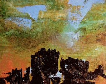 """Art, """"Fortress Komeda"""", original abstract landscape oil painting, amber, dark brown, 12 x 10 in"""