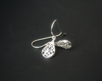 Sterling Silver earrings - filigree teardrop - lightweight earrings - french earwire or leverbacks