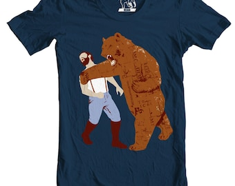 Bear Strikes Back T-Shirt, Tee, Bear Punching Man Men's t shirt, Funny Mens graphic shirts, Gift for him brother, Present to boyfriend S-3XL