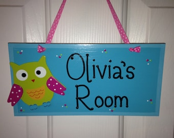 Personalized Owl Wood Wall/Door Name Sign for Girls Room Decor-Plaque U CHOOSE COLORS
