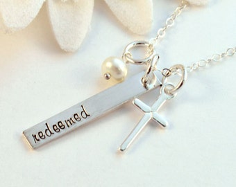 Redeemed Necklace, Sterling Silver Cross Necklace, Handstamped, Redeemed Necklace