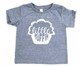 Little Muffin TriBlend Heather Grey TShirt with White Print - Infant / Baby and Toddler / Kids sizes