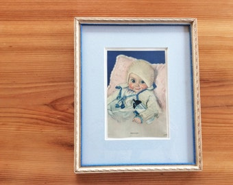 Maud Tousey Fargel, Vintage Framed Print. Sweet Retro Baby Boy Pastel Blue Nursery Decor. 1930s Lithograph Print, Ready To Hang Wall Art.