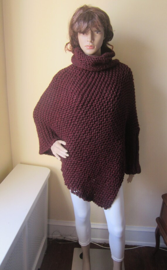 Arm Knitting Pullover : Items similar to poncho one arm asymmetrical