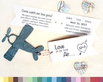 40 Love is in the Air Plantable Save the Date Card Set - Seed Paper Airplanes Wedding Favor Tags - Destination Wedding Favors - Plane