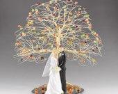 "Fall Wedding Cake Topper 8"" x 9"" in Genuine Swarovski Crystal Elements with Bride Groom Figurine Fireopal Siam Topaz and Olivine"