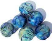 Handmade Lampwork Glass Beads Lentil Blue Silver Glass Set