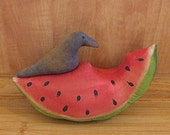 Primitive Watermelon and Crow Shelf Sitter Bowl Filler Easter Spring Fourth of July Decorations