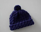 Soft! Navy Blue Toddler Toboggan Crochet Hat Boy or Girl  6-18 Months