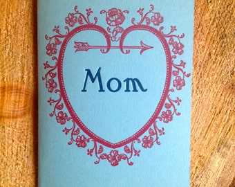 heart mom botanical letterpress card