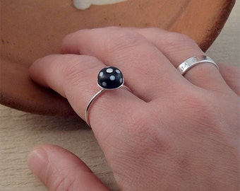 Polka Dot Ring- Black and White polka dot jewerly handmade with Sterling silver