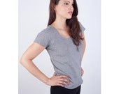 Organic Cotton Perfect Fitted Tee // Grey Micro Stripe