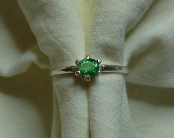 5mm x 4mm oval cut .30 ct Colombian emerald sterling silver ring size 6