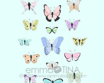 Butterflies Decorative Illustration Art Print