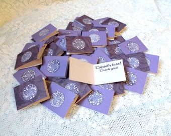 Celtic Thank you Notes, Itty Bitty Irish Celtic Knot note cards with Gaelic message For Jewelry Orders, celebrate Ireland, Lavender & Purple