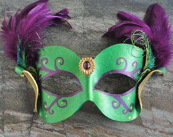 Leather Gala Mask In Green, Gold And Purple - Feathered And Jeweled Masquerade Mardi Gras Or Halloween Mask