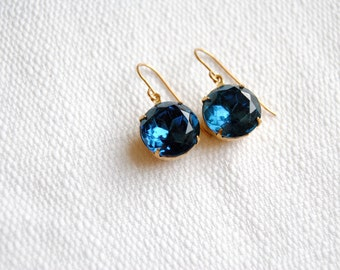 Montana Blue Rhinestone Earrings. Sapphire Crystal Drops. Sparkly Dangle Earrings. Gifts for Her. Blue Stone Earrings. FREE Shipping in US