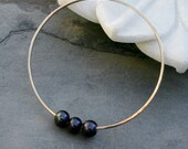 Triple Peacock Pearl Bangle in 14k gold fill, 14 Karat Gold Filled Bracelet, Stackable Stacking Bangle, Three Pearls