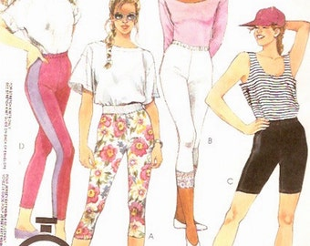 80s Womens leggings pattern Casual wear Athletic or exercise tights sewing pattern McCalls 5123 Sz 10