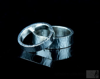 Wedding Bands in Sterling Silver, Hammered Bands, Set, pair of Rings