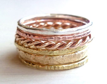 six stacked rings mixed metal rings textured stacked rings organic rings stackable
