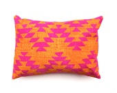 HALF PRICE SALE - Pink and Yellow Aztec Design Decorative Throw Pillow - Hand Dyed and Hand Printed Cushion - Bright Lumbar pillow