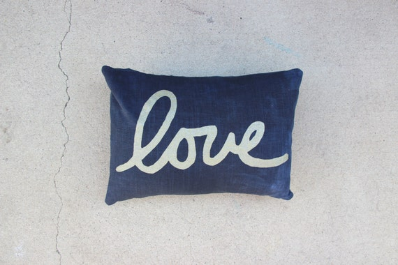 Navy Blue and Gold Throw Pillow / Blue and Gold Love by NestaHome