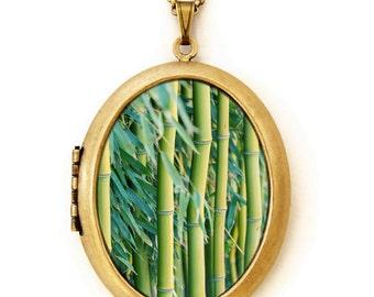 Photo Locket - Bamboo - Vibrant Green Bamboo Plant Photo Locket Necklace