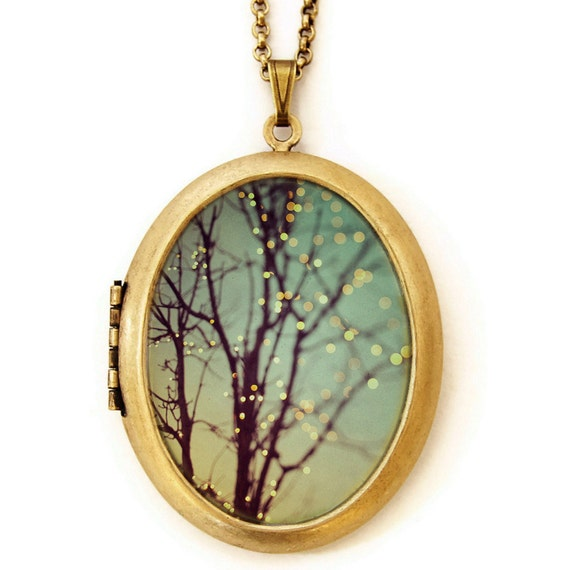 Sparkle and Dance -Twinkle Night Lights -  Large Oval Photo Locket Necklace