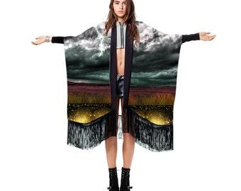 Silk Kimono, Silk Fringe Kimono, Stevie Nicks Shawl, Stevie Nicks Clothing, Silk Chiffon Robe, Norwegian Wood, Boho Fringe Kimono