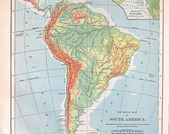 1898 Antique Map - Map of South America - Physical Map - Continent Map - Antique Book Page - 12 x 10
