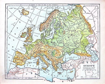 Europe Map - 1899 Antique Physical Map of Europe - Antique World Atlas Map - 12 x 10
