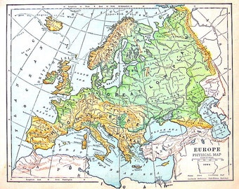 Map of Europe - Physical Map - Antique Map Dated 1888 - World Geography Book Page - 12 x 10