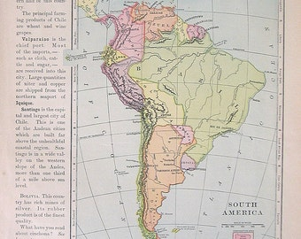 1895 Antique Map - Map of South America - Continent Map - Vintage Book Page - 12 x 10