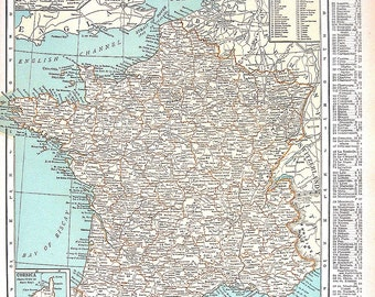 1920 Vintage Map - Map of France, Map of Germany - World Atlas Map - 11 x 14 - 2 Sided