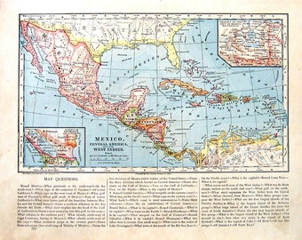 Map of Mexico, Central America and the West Indies - 1883 Antique Map - Antique Book Page - World Atlas Map - Geography Map - 13 x 10