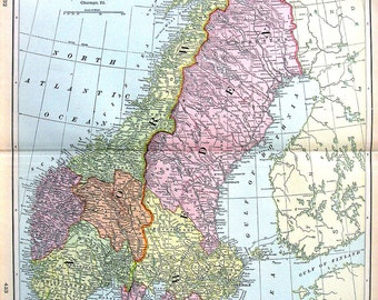 Map of Sweden and Norway - Large 1901 Antique Map - from Cram's World Atlas - 22 x 14