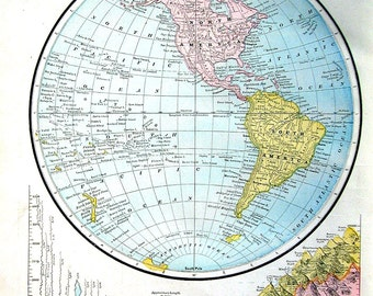 Western Hemisphere and The World - 2 Sided 1883 Antique Illustration - Cram's World Atlas Book Page