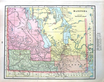 Map of Manitoba, Map of Northwest Territories - Canada Map - 1899 Antique Map - 15 x 11
