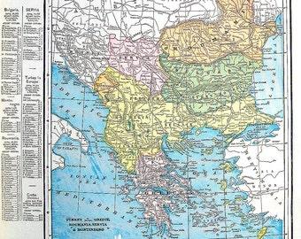 Map of Turkey, Greece, Roumania, Servia, Montenegro - 1899 Antique Map - 15 x 11