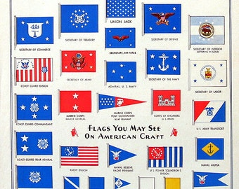 American Craft Flags - 1964 Vintage Book Page - Ensign and Merchant Flag, Union Jack, Secretary of State, Coast Guard, Naval Militia
